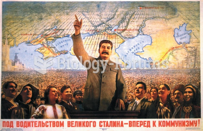 """A propaganda poster enshrining Stalin proclaims that he has led his people """"Forward to ..."""