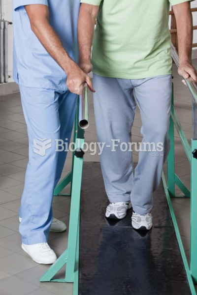 A physical therapist helping the patient on parallel bars.