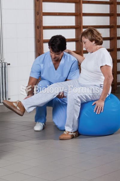 A physical therapist exercising the patient's leg in a physical therapy department.