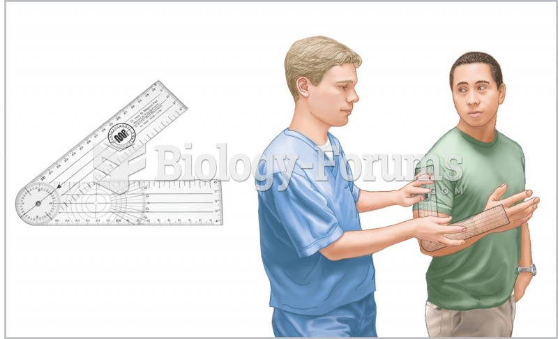 A goniometer is used to measure range of motion of the patient's arm.