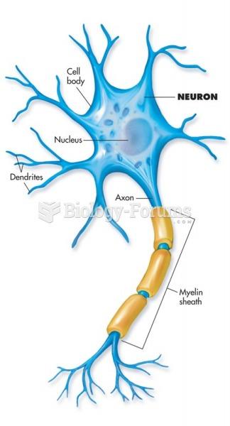 Motor neuron showing the axon, dendrite, and myelin sheath.