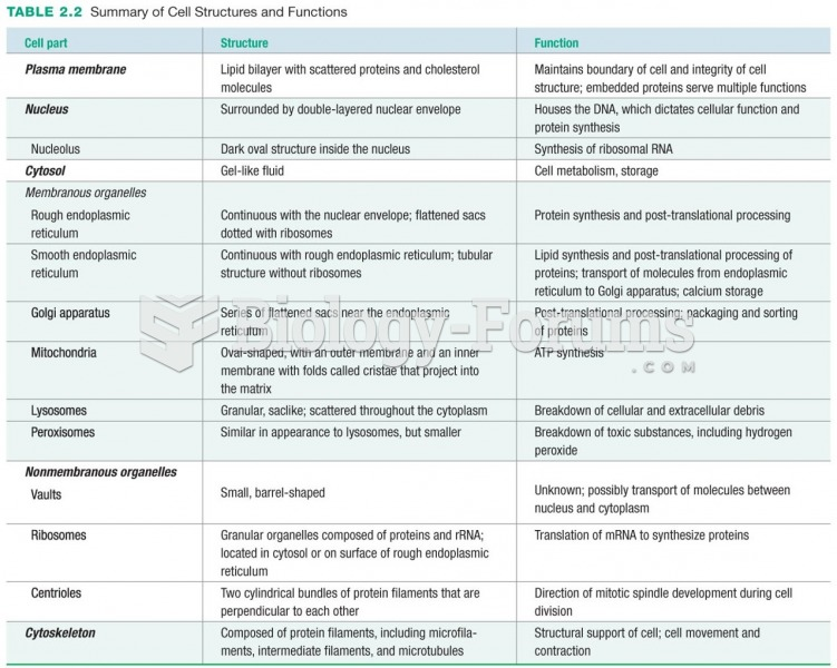 Summary of Cell Structures and Functions