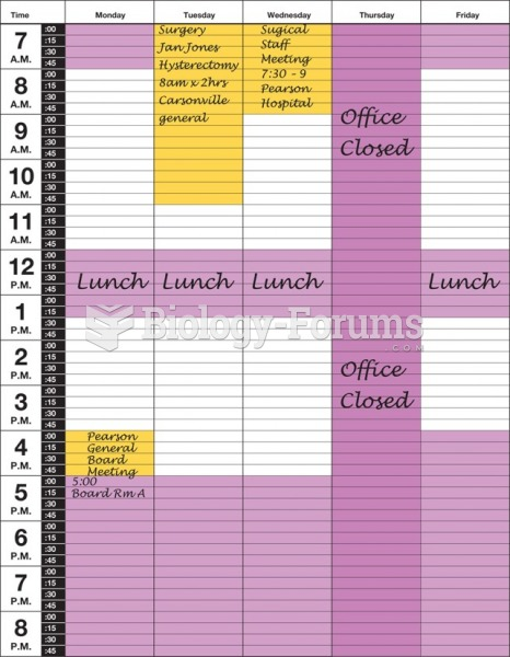 An appointment schedule with a completed matrix.