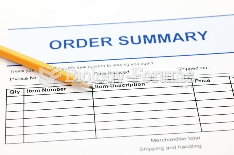 Sample inventory order form.