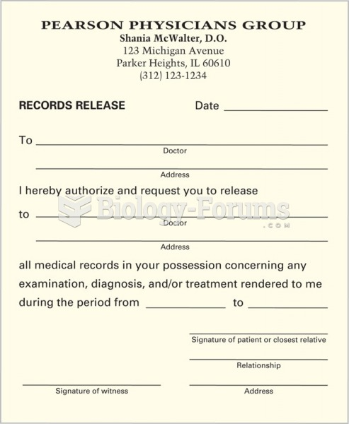 A release form for medical records.