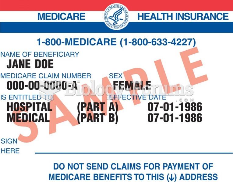 Sample Medicare identification card.