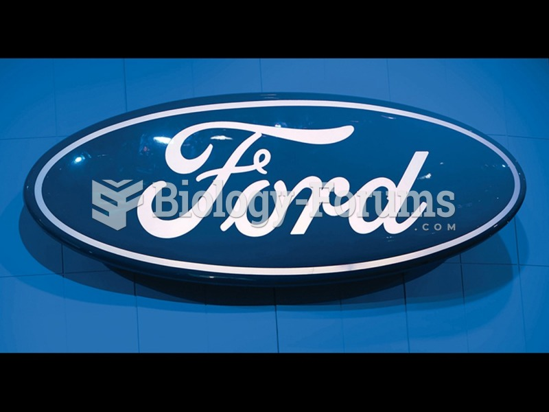The Ford logo on display at the 2009 New York International Auto Show.