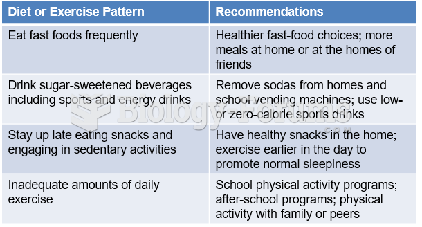 Adolescent Diet and Exercise Patterns and Recommendations