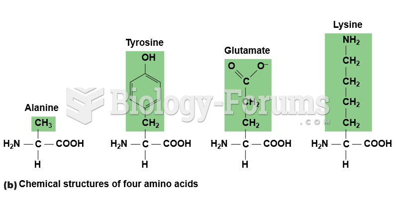 Chemical structures of four amino acids