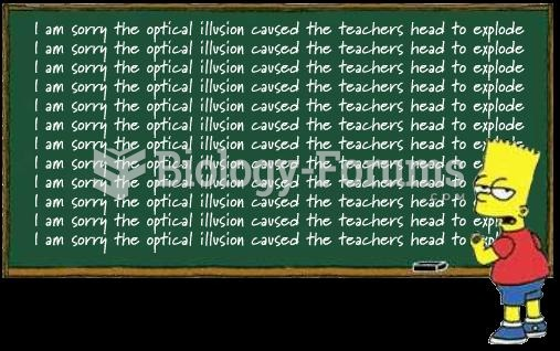 Illusionary picture of teacher's head exploding