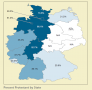 This map shows the percentage of Protestants by state in Germany. When compared to the previous map