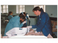 A team of forensic experts working on remains recovered from Ovcara in the former Yugoslavia.