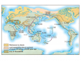 Routes for the human colonization of the New World and Pacific islands.