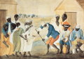 A depiction of slaves on a South Carolina plantation, around 1790. Likely of Yoruba descent, they pl