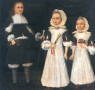 New England children like David, Joanna, and Abigail Mason (painted by an unknown artist around 1670