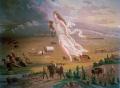 In American Progress (1872), John Gast depicts a feminized (and eroticized) America moving westward,