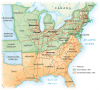 Major trunk lines carrying long-distance traffic crisscrossed the area east of the Mississippi. The