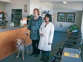 A visually impaired patient is assisted by a service dog.