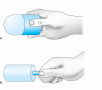 For ice massage, ice is frozen in a cylindrical container or a paper cup (A). The top half of the cu