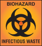 An orange-red biohazard symbol indicates that bloodborne pathogens may be present, and items should ...