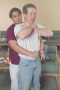 Abdominal thrusts are delivered with a firm thrust into the patient's abdomen with an upward ...