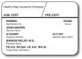 Sample of an insurance card.
